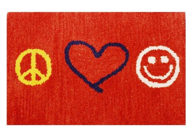 Purpledip Handwoven Doormat 'Peace Love Joy': Thick, Soft, Non-skid Floor Carpet Rug (11311b)