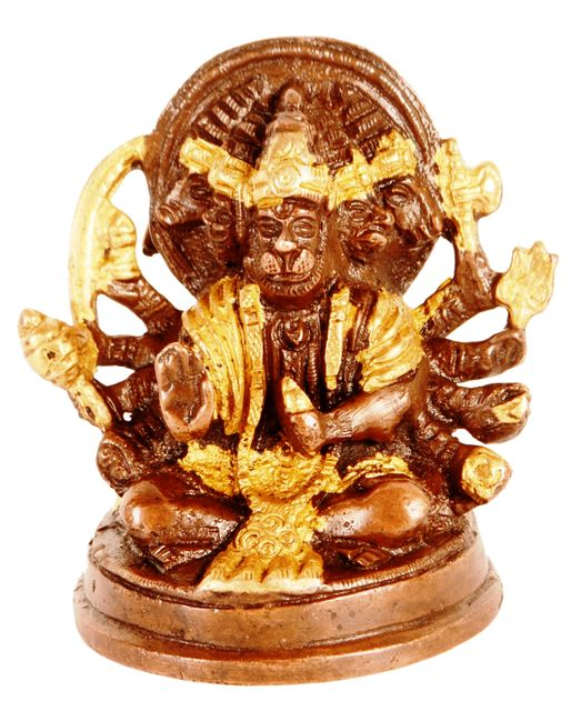 Brass Idol Hanuman/Bajrangbali In Panchmukhi Avatar: Unique Copper Gold Finish For Home Temple, Office Table or Shop Puja Shelf | Hindu Religious Gift (11316)