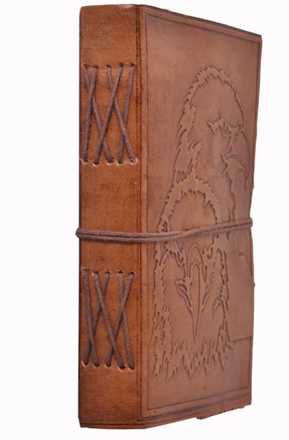 Leather Journal (Diary Notebook) 'Majestic Hawk': Handmade Paper In Leather Cover For Corporate Gift or Personal Memoir (11319)