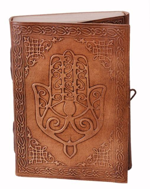 Leather Journal (Diary Notebook) 'Hand Of God': Handmade Paper In Leather Cover For Corporate Gift or Personal Memoir (11323)