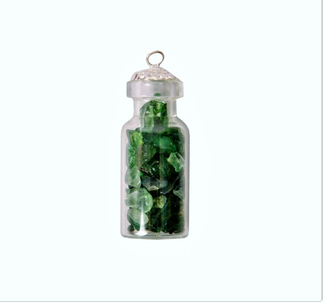 Green Aventurine Crystals Bottle Pendant: Reiki Energized Natural Crystals, Good Luck Healing Charm (11331)