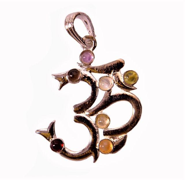 Seven Chakra Crystal Reiki Pendant: Om/Aum (11343)