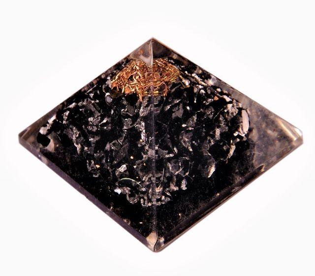 Black Tourmaline Orgone Pyramid: Good Luck Healing Charm, Divine Spiritual Crystal Stone (11345)
