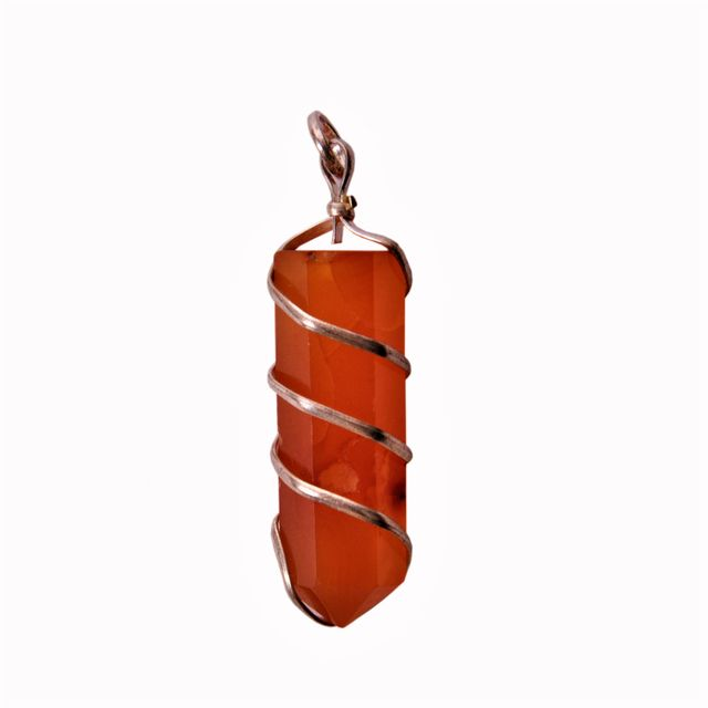 Carnelian Gemstone Wired Pointed Pendant: Good Luck Healing Charm Unisex Divine Spiritual Crystal (11349)