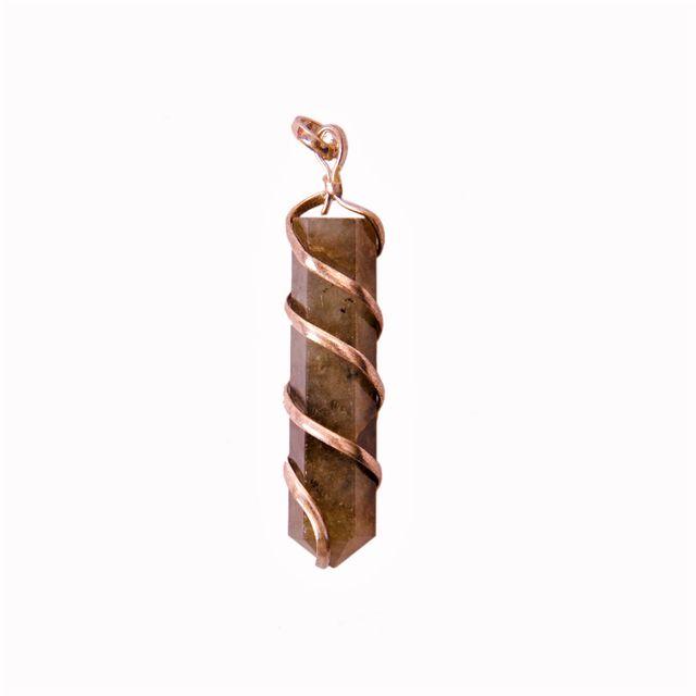 Labradorite Gemstone Wired Pointed Pendant (11350)