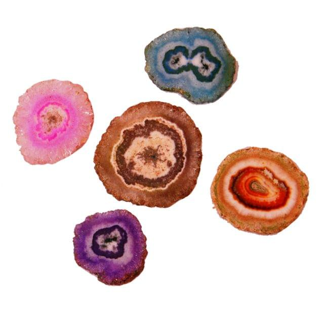 Agate Slices - Set of 5 Assorted Polished Geode Slices, Grade A 1-1.5 inch (11355)
