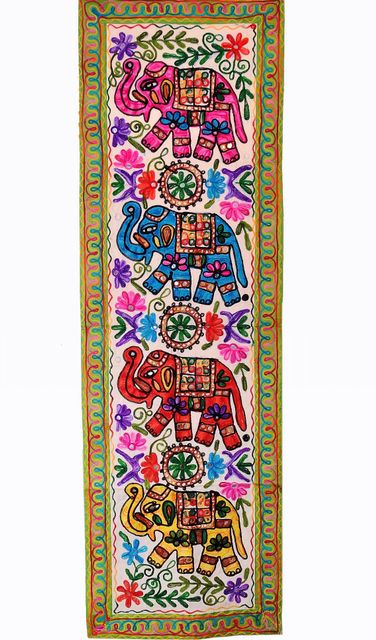 Cotton Tapestry 'Elephant Jambooree': Vintage Embroidery Table Runner Or Wall Hanging (11356)