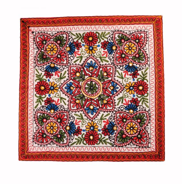 Cotton Tapestry 'Valley Of Flowers': Vintage Embroidery Table Cover Or Wall Hanging (11361)