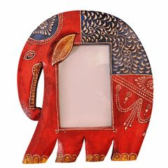 Wooden Photoframe: Handpainted Elephant Shape Picture Frame (11365)