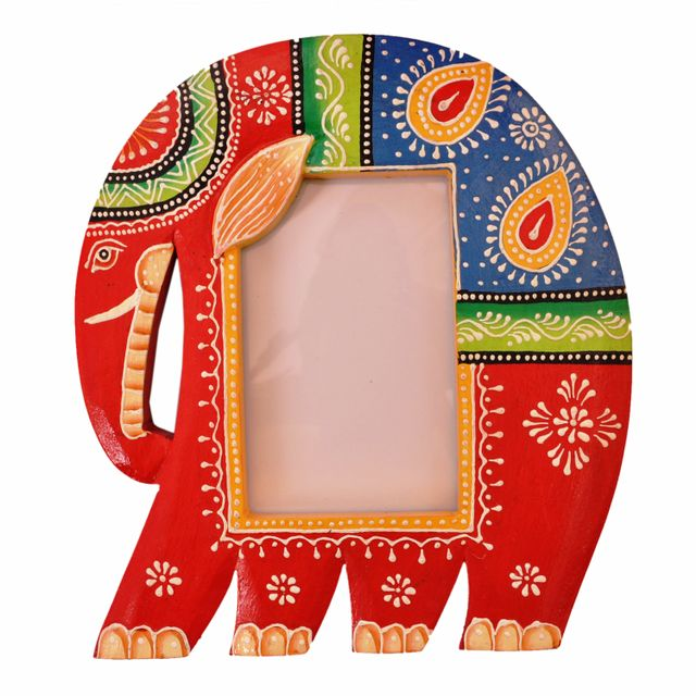 Wooden Photoframe: Handpainted Elephant Shape Picture Frame (11366)