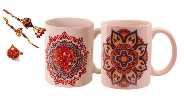 Purpledip Rakhi Hamper For Bhaiya & Bhabhi : 2 Ceramic mug with Ethnic Indian Designs 2 Designer Rakhis & Roli Chawal (rakhi64c)