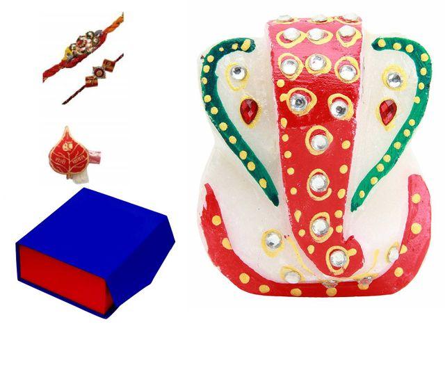 Purpldip Rakhi Gift Set: Small Ganesha Marble Statue, 2 Designer Rakhis, Roli Chawal In Red Paan Packing in a Classy Gift Box (rakhi68)