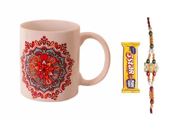 Purpledip Rakhi Hamper: Traditional Design Ceramic Mug,  Designer Rakhi,  5 Star Chocolate & Roli Chawal (rakhi64a)