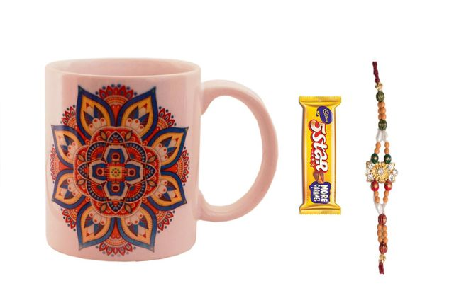 Purpledip Rakhi Hamper: Traditional Design Ceramic Mug,  Designer Rakhi,  5 Star Chocolate & Roli Chawal (rakhi64b)