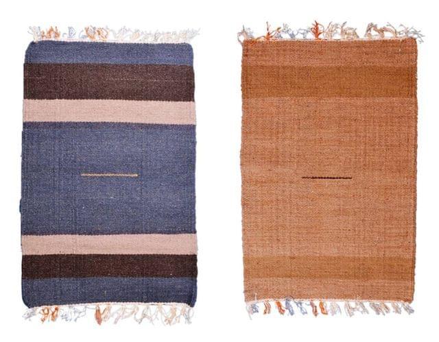 Woollen Place Mats Rug: Meditation Prayer Floor Mats (Set of 2)
