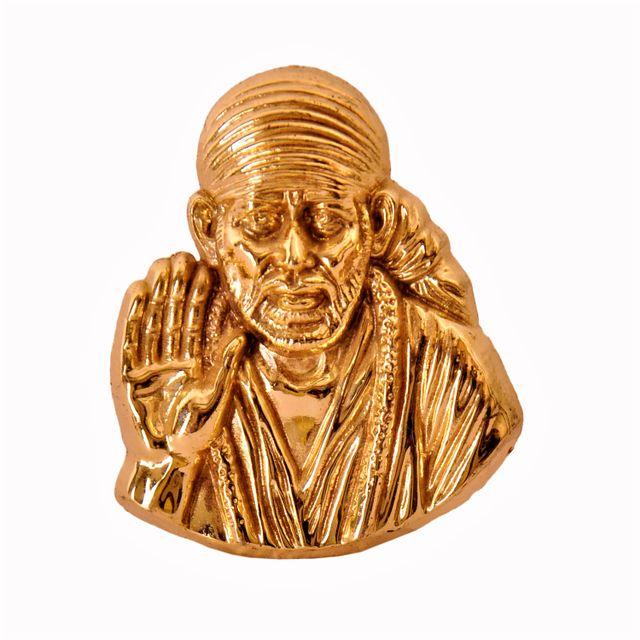 Shirdi Sai Baba Metal Statue in Golden Finish (10342A)
