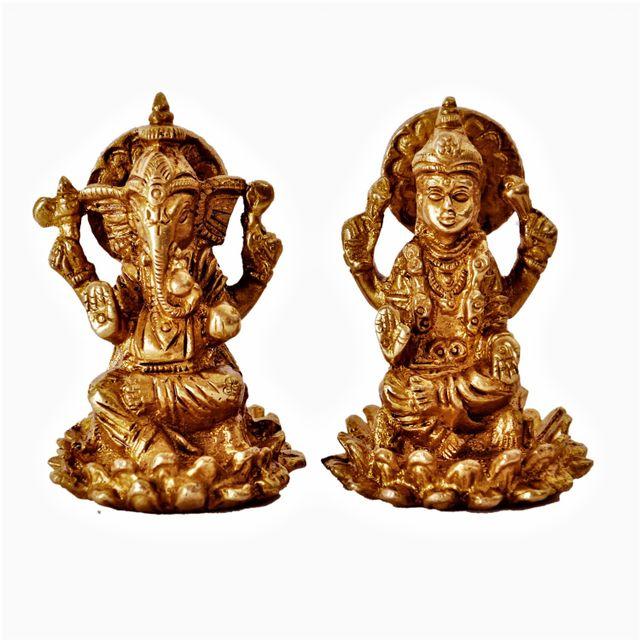Mini Idol Ganesha-Lakshmi on Lotus Flower: Solid Brass Metal Statue for Home Temple (11391)