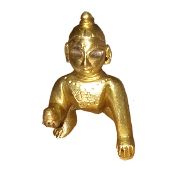 Mini Idol Krishna Laddoo Gopal: Brass Statue Home Temple (11393)
