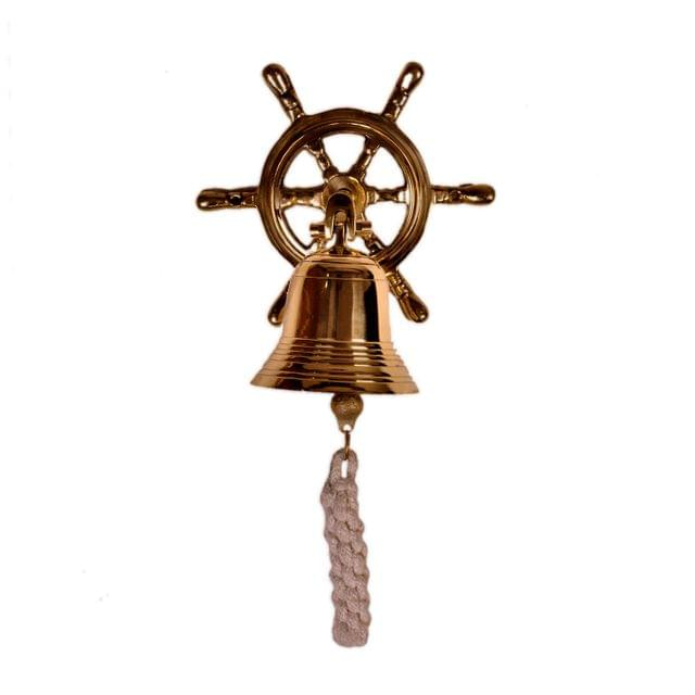 Brass Nautical Bell with Captain's Wheel Hook: Unique Pirate Ship Marine Decor Gift (11402)