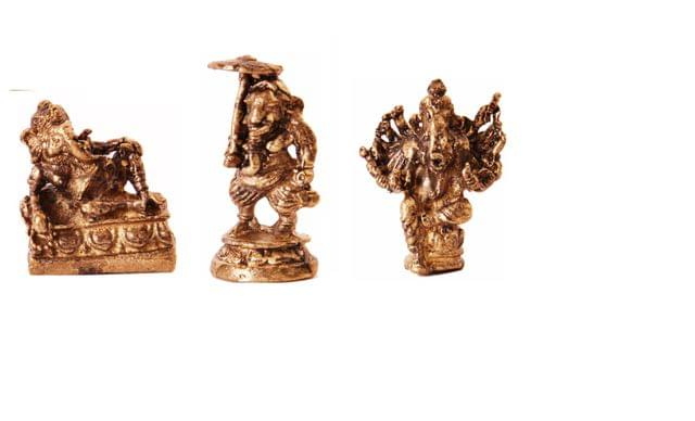 Rare Miniature Statue Set Ganesha in 3 Different Poses, Unique Collectible Gift (11406)