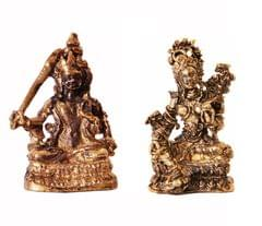 Rare Miniature Statue Set Goddess Tara in 2 Different Poses, Unique Collectible Gift (11410)
