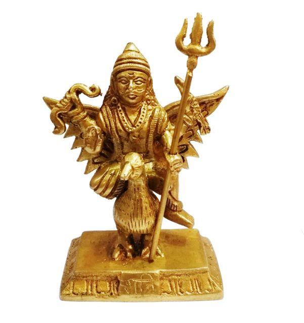 Brass Statue Lord Shani Dev: Hindu Saturn God of Anger (11431)