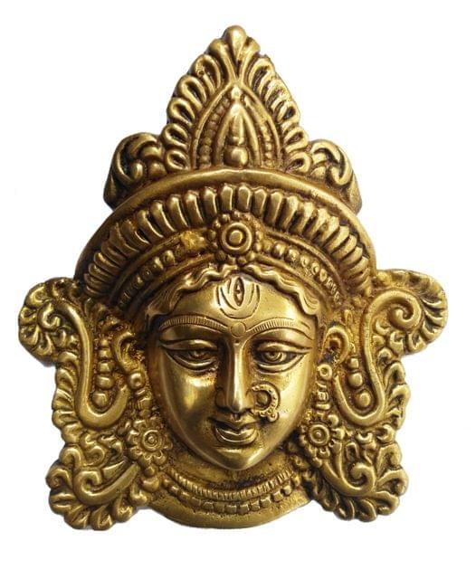 Brass Statue Goddess Durga: Wall Hanging Face Mask (11433)