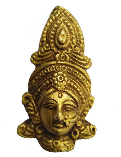 Brass Mini Statue Durga: Wall Hanging Face Mask (11434)