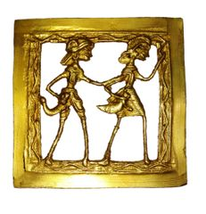 Brass Wall Hanging Plaque 'Life Partners': Dokra Craft Tribal Artform Square Plate Statue, 4 inches (11435)