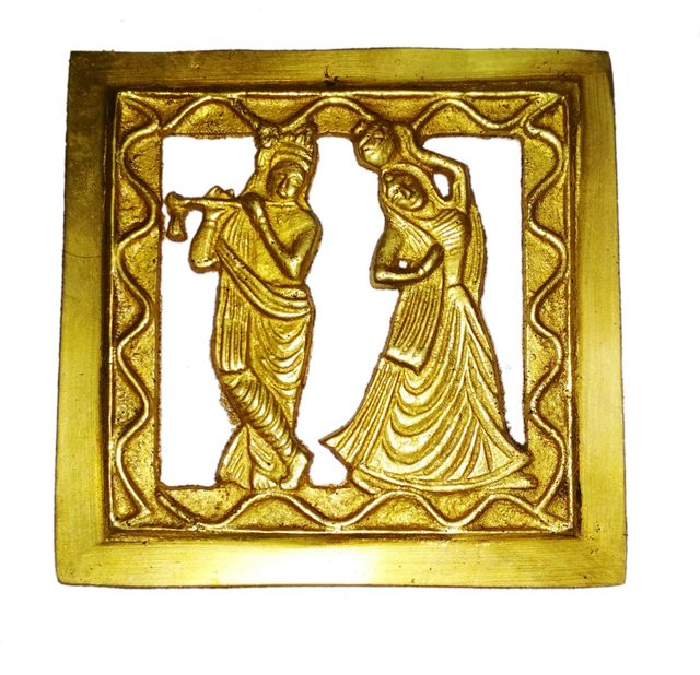 Brass Wall Hanging Plaque Radha Krishna: Dokra Craft Tribal Art Decor Statue (11438)