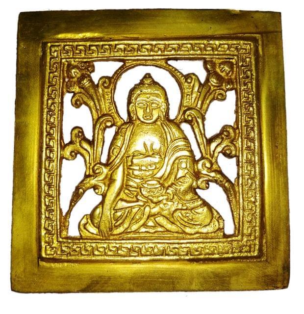 Brass Wall Hanging Plaque Gautam Buddha: Dokra Craft Tribal Art Decor Statue (11439)