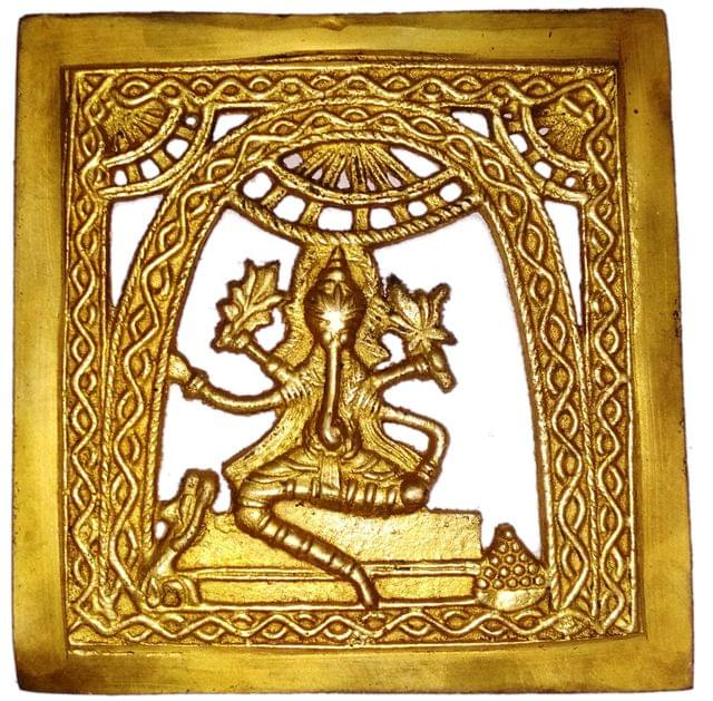 Brass Wall Hanging Plaque Vignaharta Ganesha: Dokra Craft Tribal Art Decor Statue (11440)