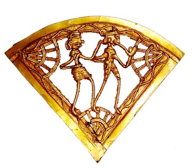 Brass Wall Hanging Plaque 'Farm Life': Dokra Craft Tribal Artform Slice Plate Statue (11441)