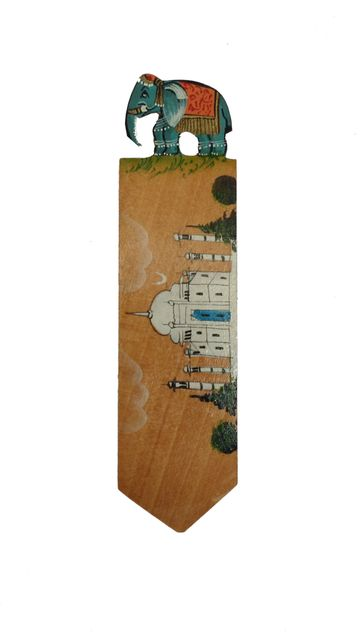 Wooden Bookmark Page Marker 'Taj Mahal': Hand Carved & Painted Souvenir for Book Lovers (11442b)