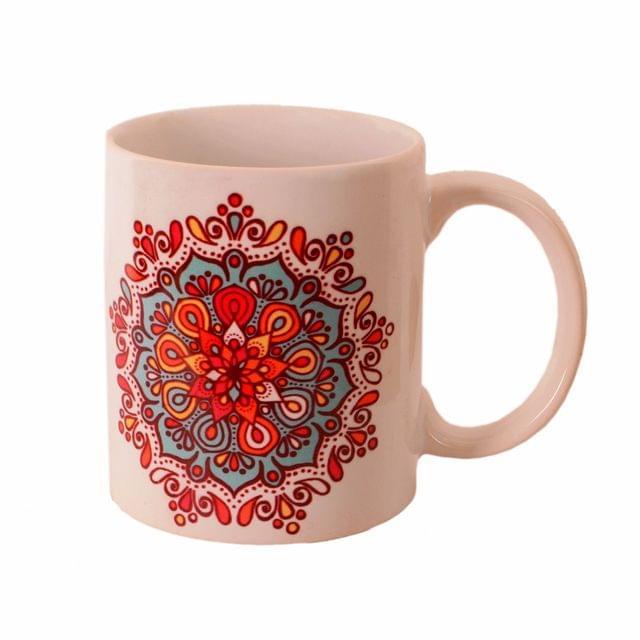 Purpledip Ceramic Mug With Indian Rangoli Pattern, Ethnic Gift for Birthday, Anniversary (11443)