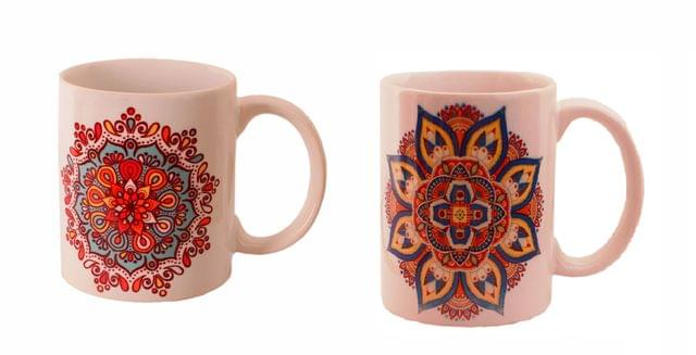 Purpledip Ceramic Mug Set of 2 With Indian Rangoli Pattern, Ethnic Gift for Birthday, Anniversary (11443A)