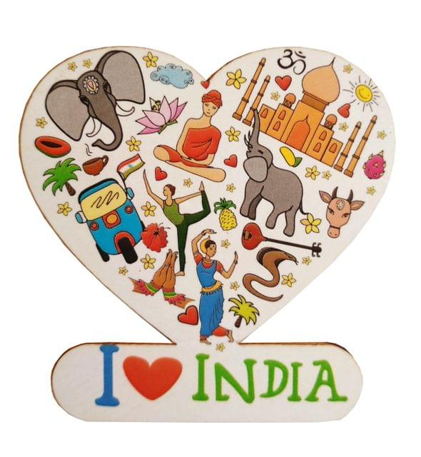 Purpledip Wooden Fridge Magnet: India, My Love (11465)