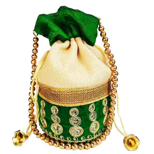 Purpledip Rich Velvet & Jute Potli Bag (Clutch, Drawstring Purse, Evening Handbag) For Women With Gold Embroidery Work and Golden Beads String ,Green  (11476)