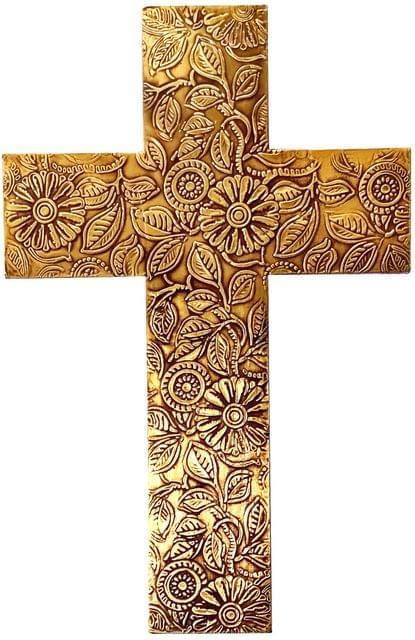 Purpledip Wooden Wall Cross 'God's Glory': Mangowood Plaque with Golden Brass Sheet Cover (11445)