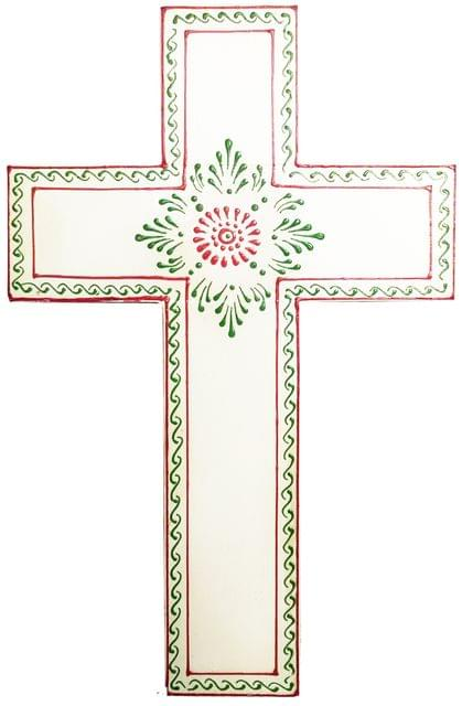 Purpledip Wooden Wall Cross 'Divine Purity': Handpainted Mangowood Plaque, White (11446A)