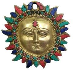 Purpledip Brass Idol Sun God Surya Dev: Wall Hanging with Colorful  Gemstones (11447)