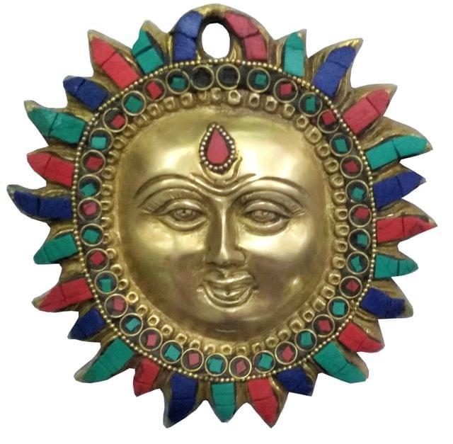 Purpledip Brass Idol Sun God Surya Dev: Wall Hanging with Colorful  Gemstones (11447)