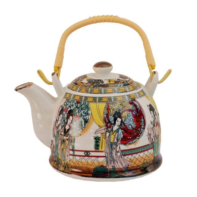 Purpledip Ceramic Fire Kettle 'Slow Dance': 1L Tea Pot with Steel Strainer (11469)