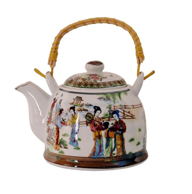 Purpledip Ceramic Fire Kettle 'Gossip Time': 1L Tea Pot with Steel Strainer (11470)