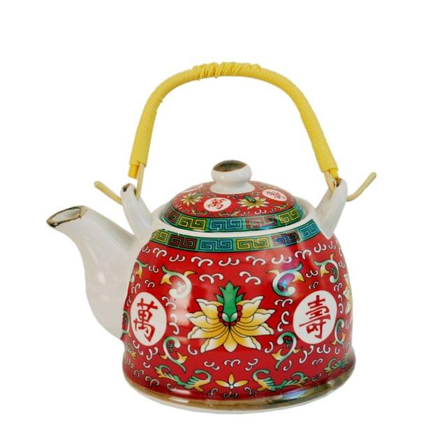Purpledip Ceramic Fire Kettle 'Sacred Flower': 1L Tea Pot with Steel Strainer (11471)