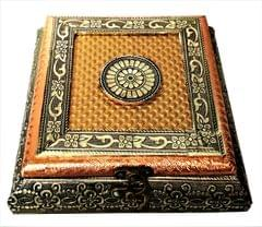 Purpledip Wooden Meenakari Box with Painting 'Regal Treasure': Ideal for 500 gms Nuts, Sweets, Chocolates or Mints (11497)