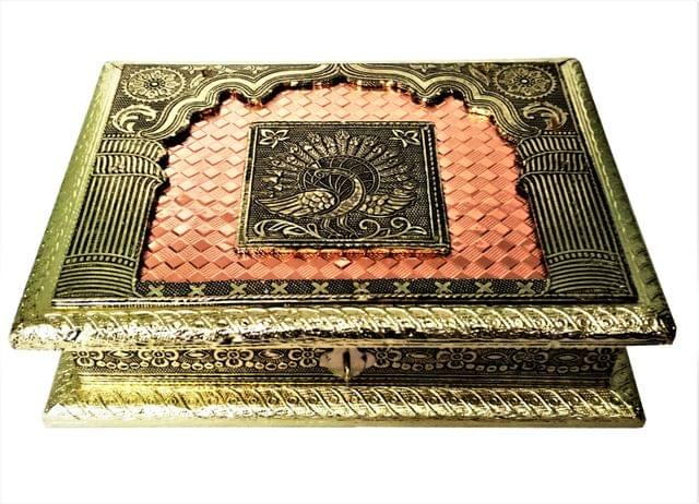 Purpledip Wooden Meenakari Box with Painting 'Peacock In My Window': Ideal for 500 gms Nuts, Sweets, Chocolates or Mints (11498)