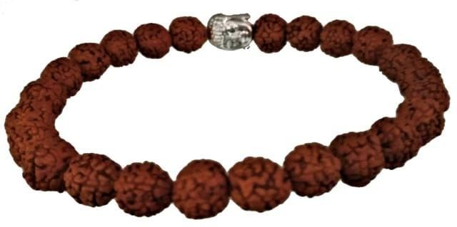 Purpledip Rudraksha Bracelet for All Rashi: Holy 24 Rudraksh Band with Gautam Buddha (11505)