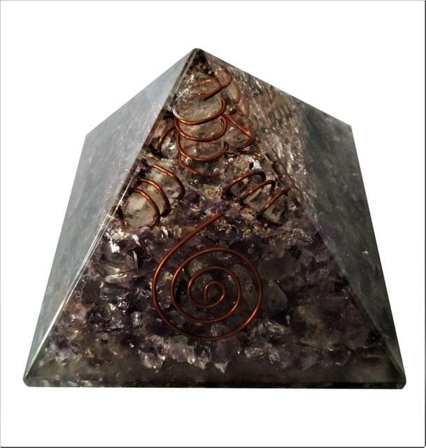 Purpledip Amethyst Orgone Pyramid with Crystal Quartz Energy Rod: Good Luck Healing Charm, Divine Spiritual Crystal Stone  (11509)