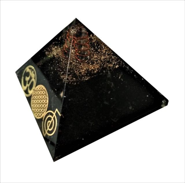 Purpledip Black Tourmaline Orgone Pyramid with Reiki Symbols and Crystal Quartz Energy Rod: Good Luck Healing Charm, Divine Spiritual Crystal Stone (11512)